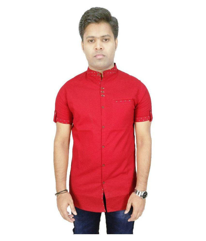 Kuons Avenue Red Casuals Slim Fit Shirt