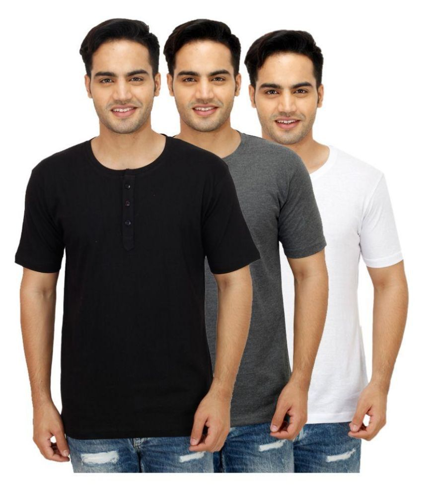 Sanvi Traders Multi Henley T Shirt Pack of 3