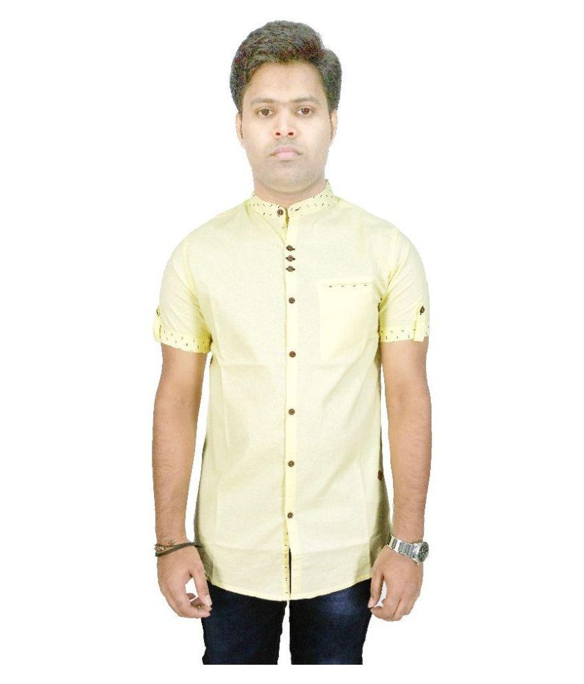 Kuons Avenue Yellow Casuals Slim Fit Shirt