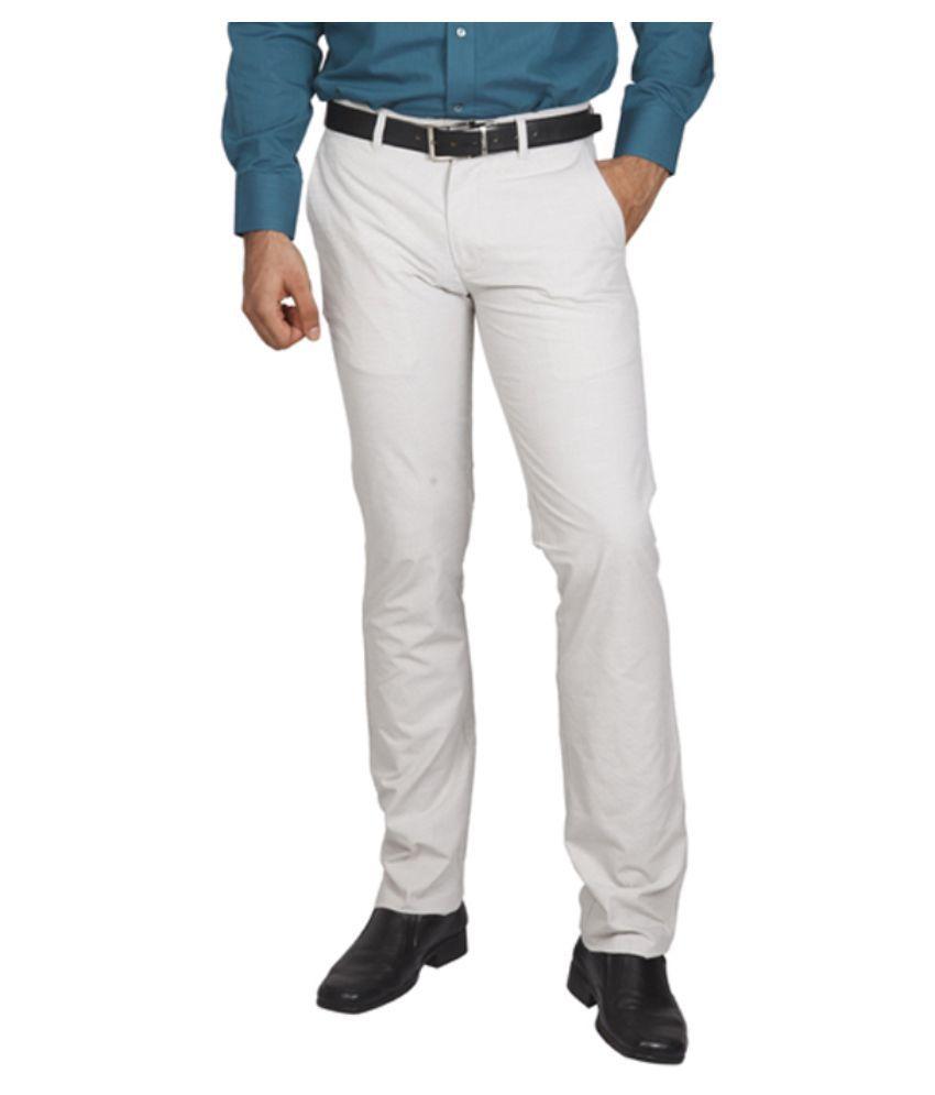 Colorplus Off-White Slim Fit Flat Trouser