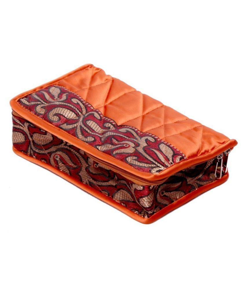 Kuber industries Fabric Studded Orange Coloured Jewellery Box
