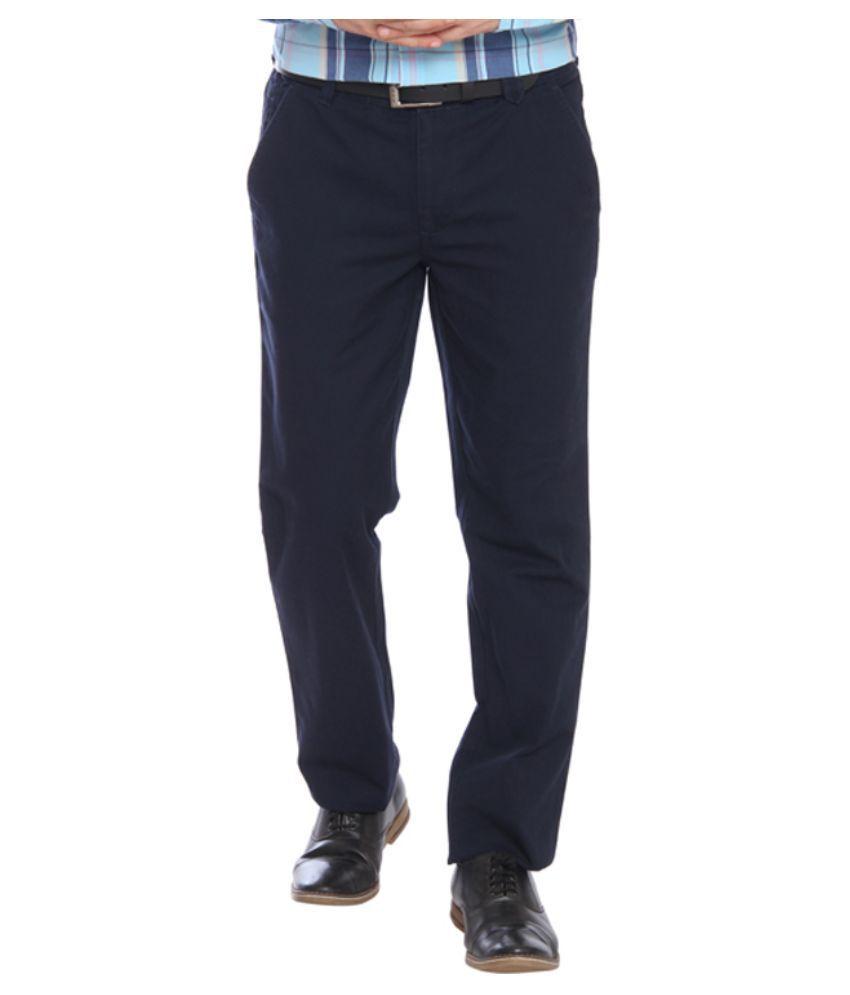 Park Avenue Blue Regular Fit Flat Trousers