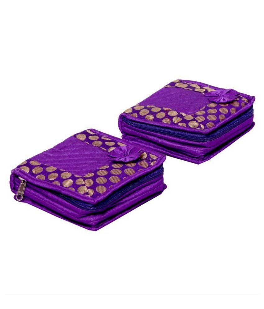 Kuber Industries Fabric Studded Purple Coloured Jewellery Box