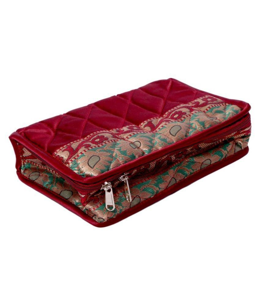 Kuber industries Fabric Studded Maroon Coloured Jewellery Box