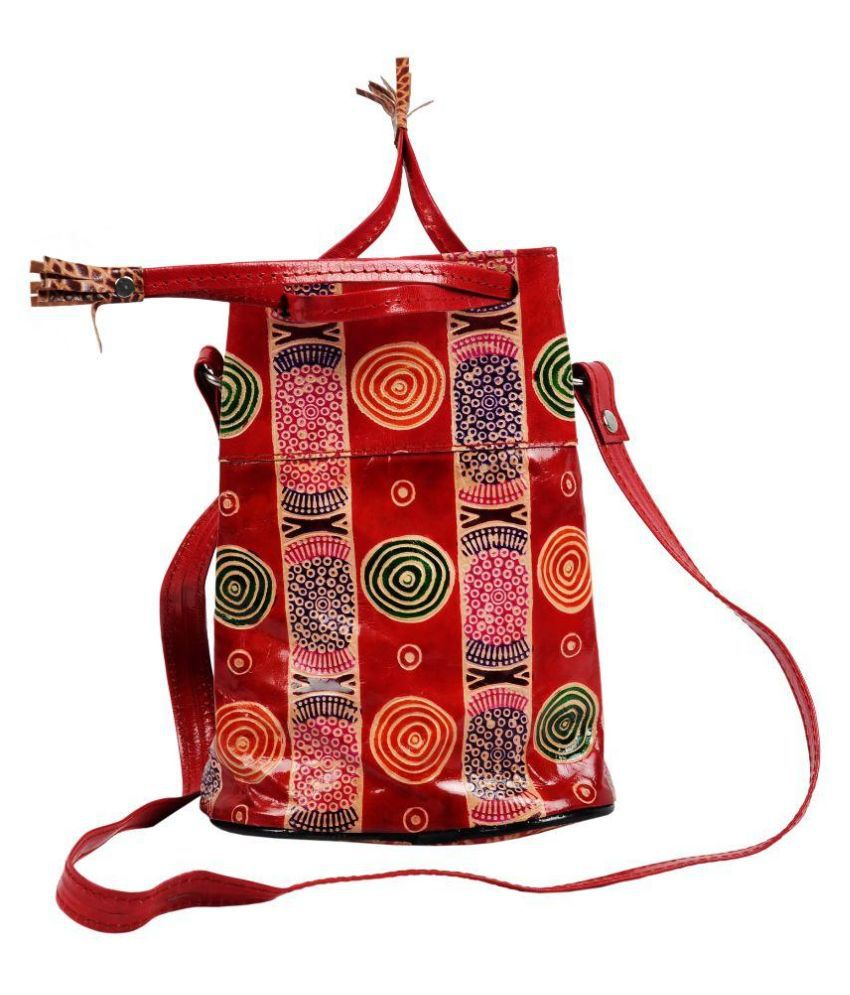 Zint Red Pure Leather Sling Bag