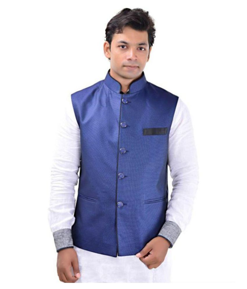 MD Fashion Blue Casual Waistcoats
