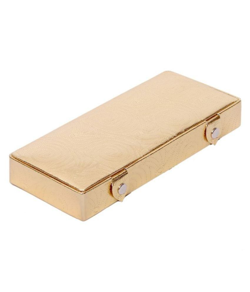 Kuber Industries Golden Jewellery Box in Coated Hard Board (Golden)