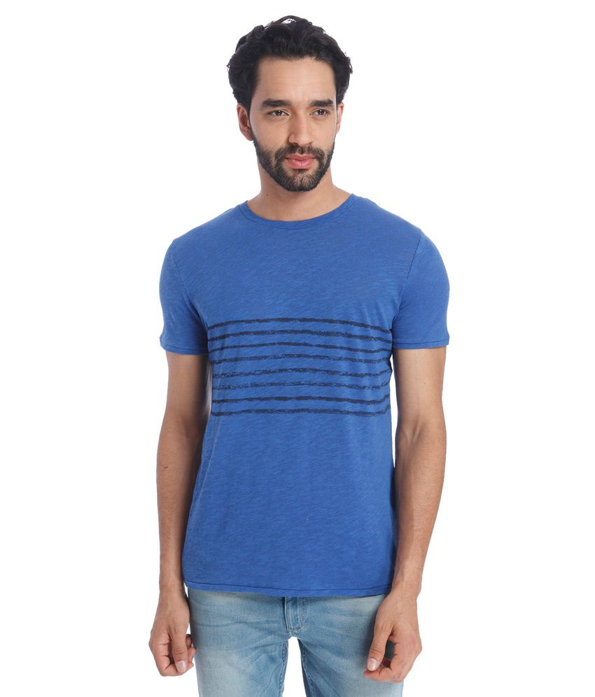 Jack & Jones Blue Round Neck Half Sleeves Sleeves Stripes T-Shirt