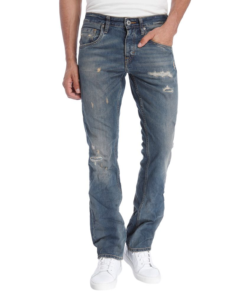 Jack & Jones Blue Slim Fit Faded Jeans