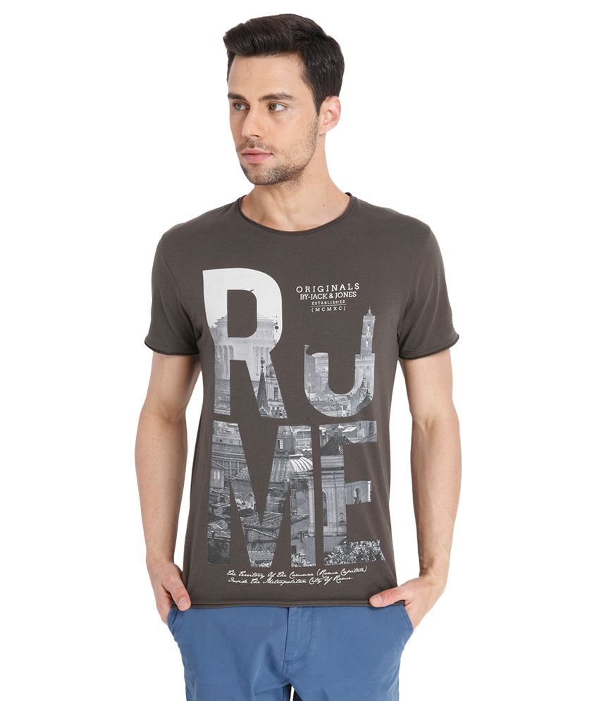 Jack & Jones Grey Round Neck Half Sleeves Printed T-Shirt