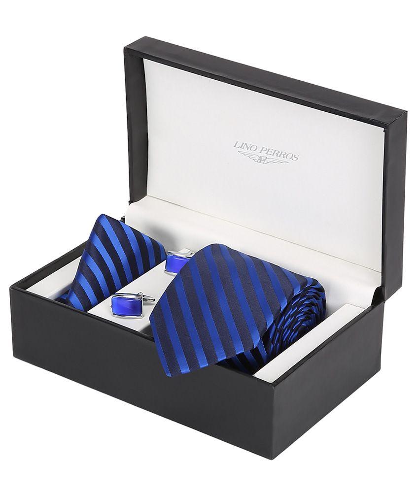Lino Perros Blue Men Combo Tie Cufflink & Pocket Square
