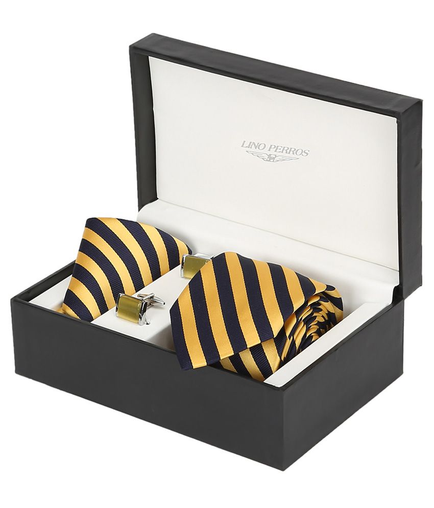 Lino Perros Yellow Men Combo Tie Cufflink & Pocket Square
