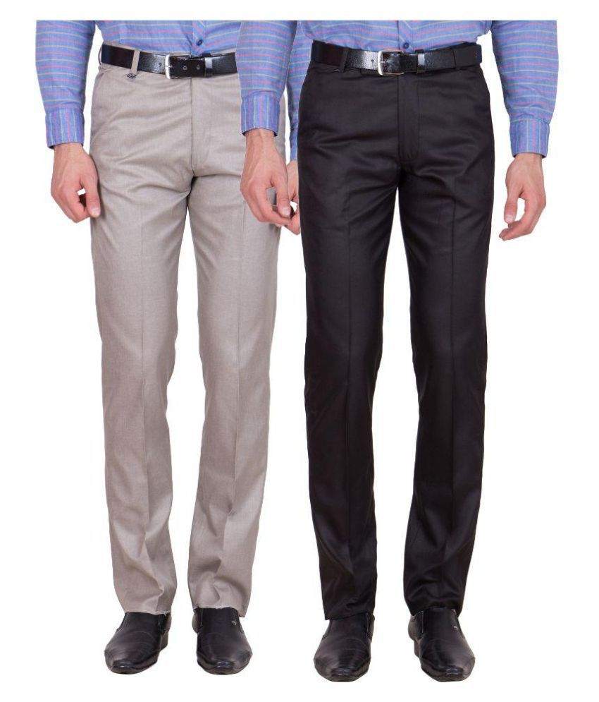 Tiger Grid Multi Slim Fit Flat Trousers Pack of 2