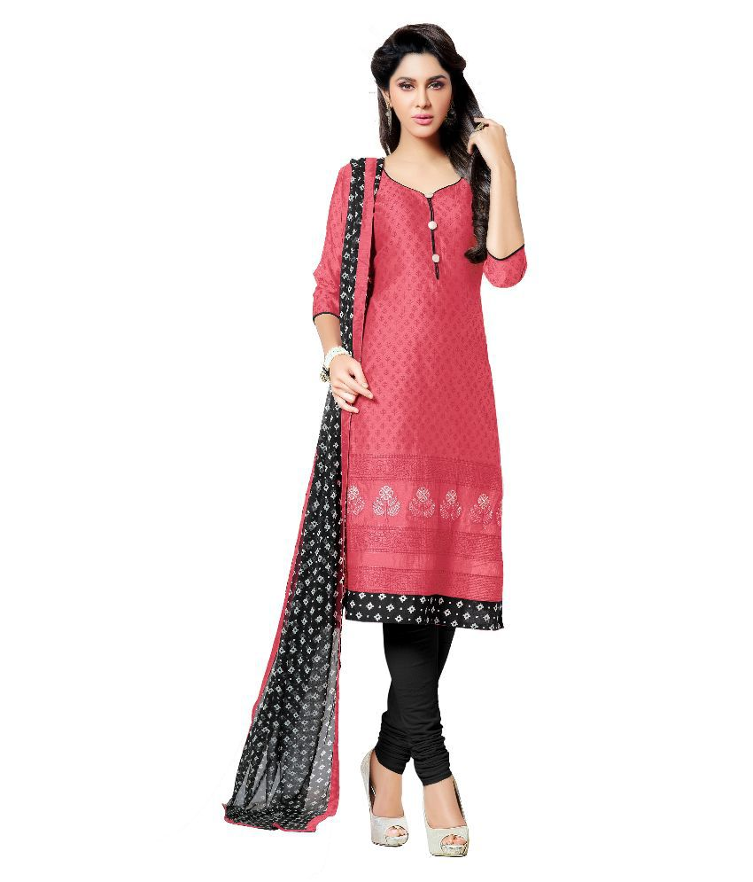 Mezona Pink Chanderi Straight Unstitched Dress Material