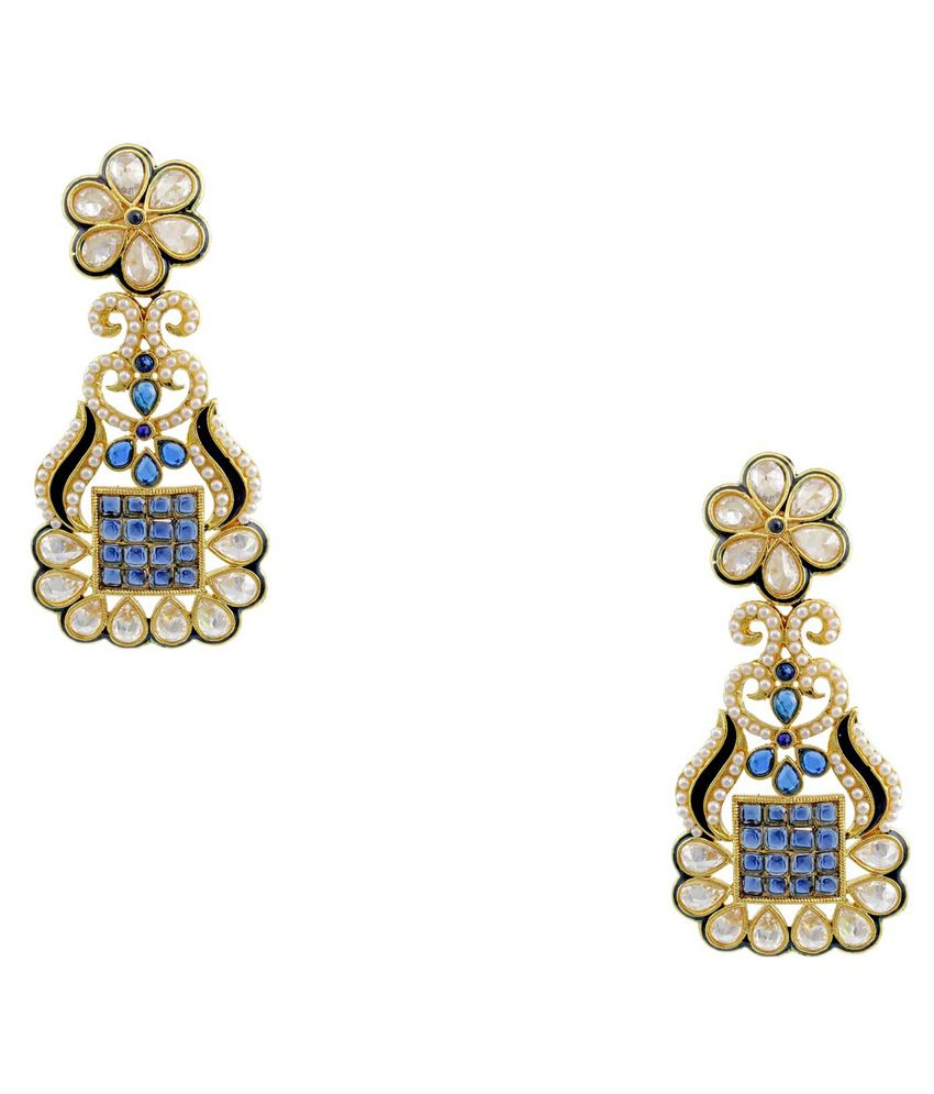 Orniza Brass Gold Plating Pearls Studded Blue Coloured Earrings