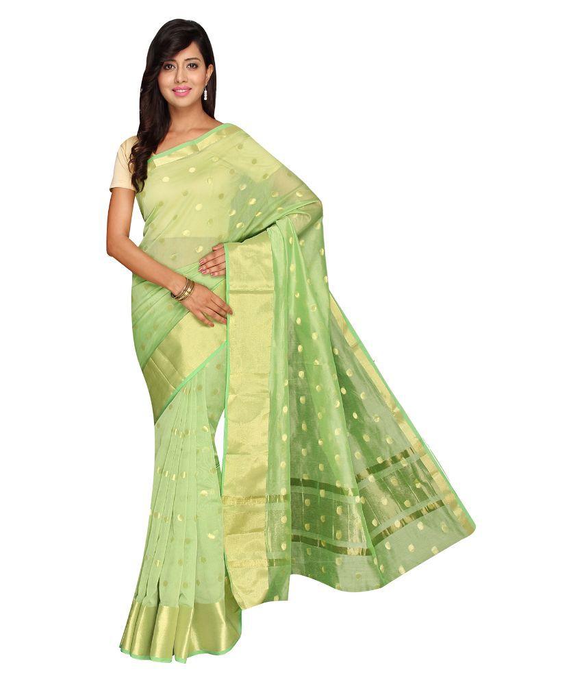 Pavecha's Green Cotton Silk Saree