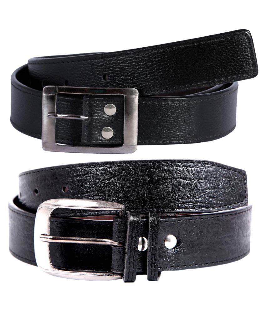 Hardy's Collection Black Belt For Men - Pack of 2