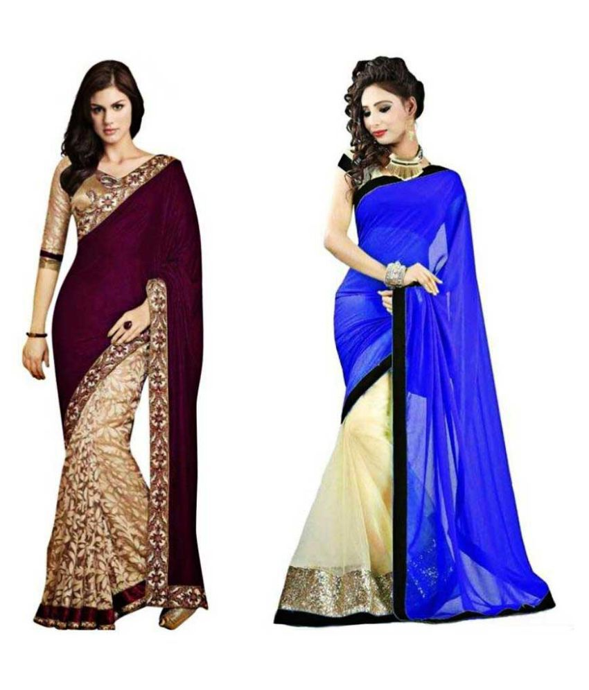 Ambaji Fashion Multicoloured Velvet Saree Combos