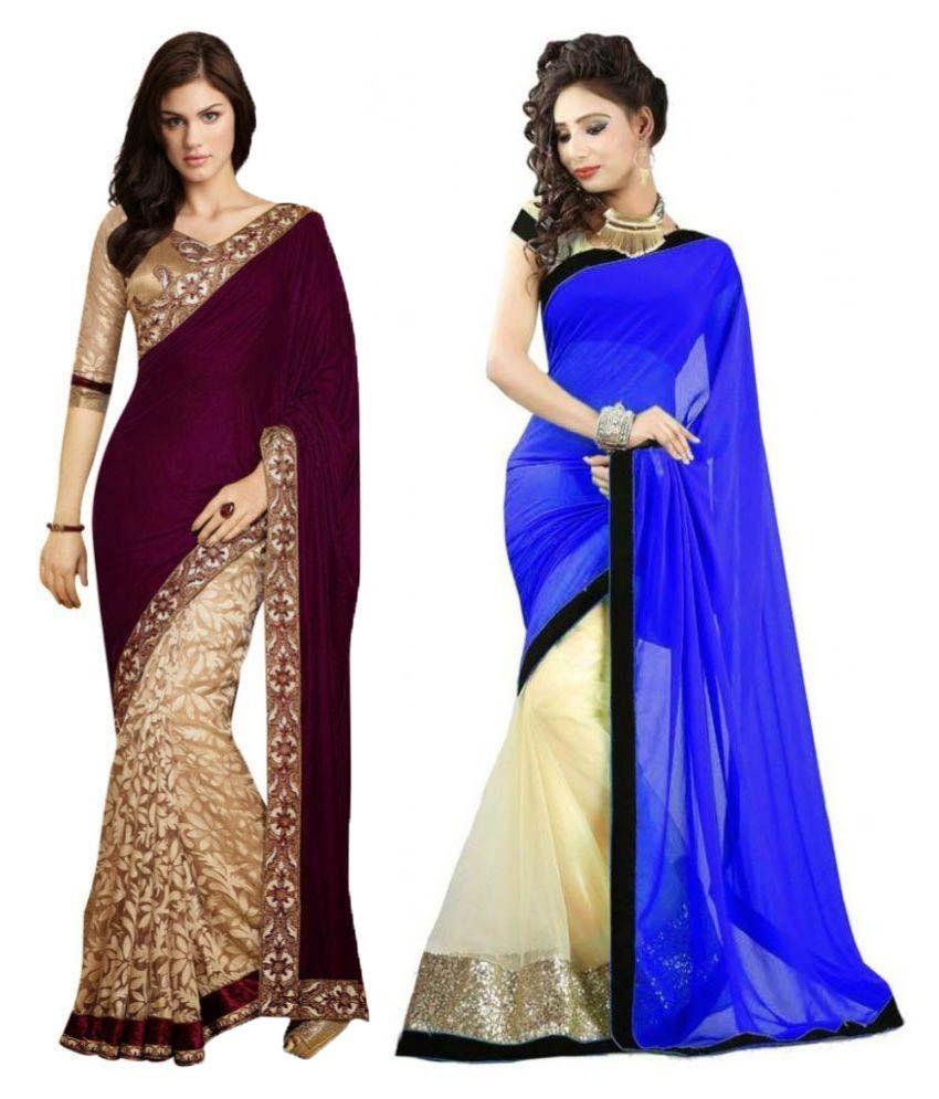 Ambaji fashion Multicoloured Velvet Saree Combos