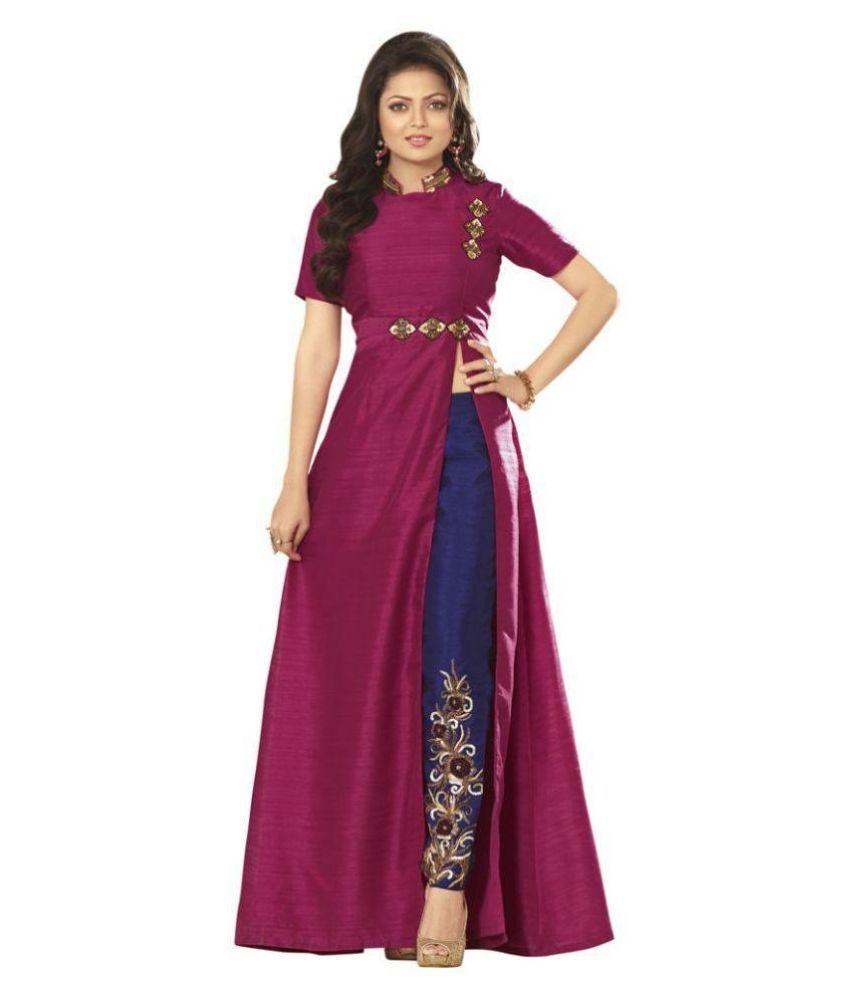 Frigatebird Purple Silk A-line Unstitched Dress Material