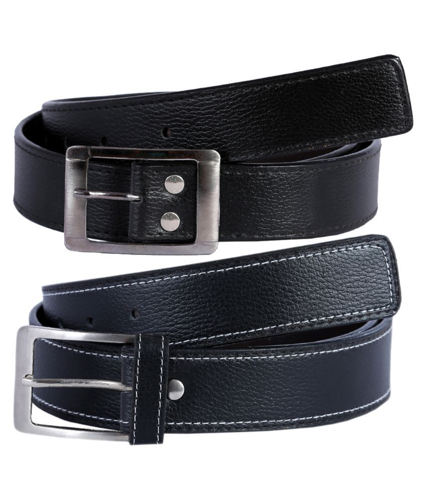 Hardy's Collection Black Belt for Men - Pack of 3