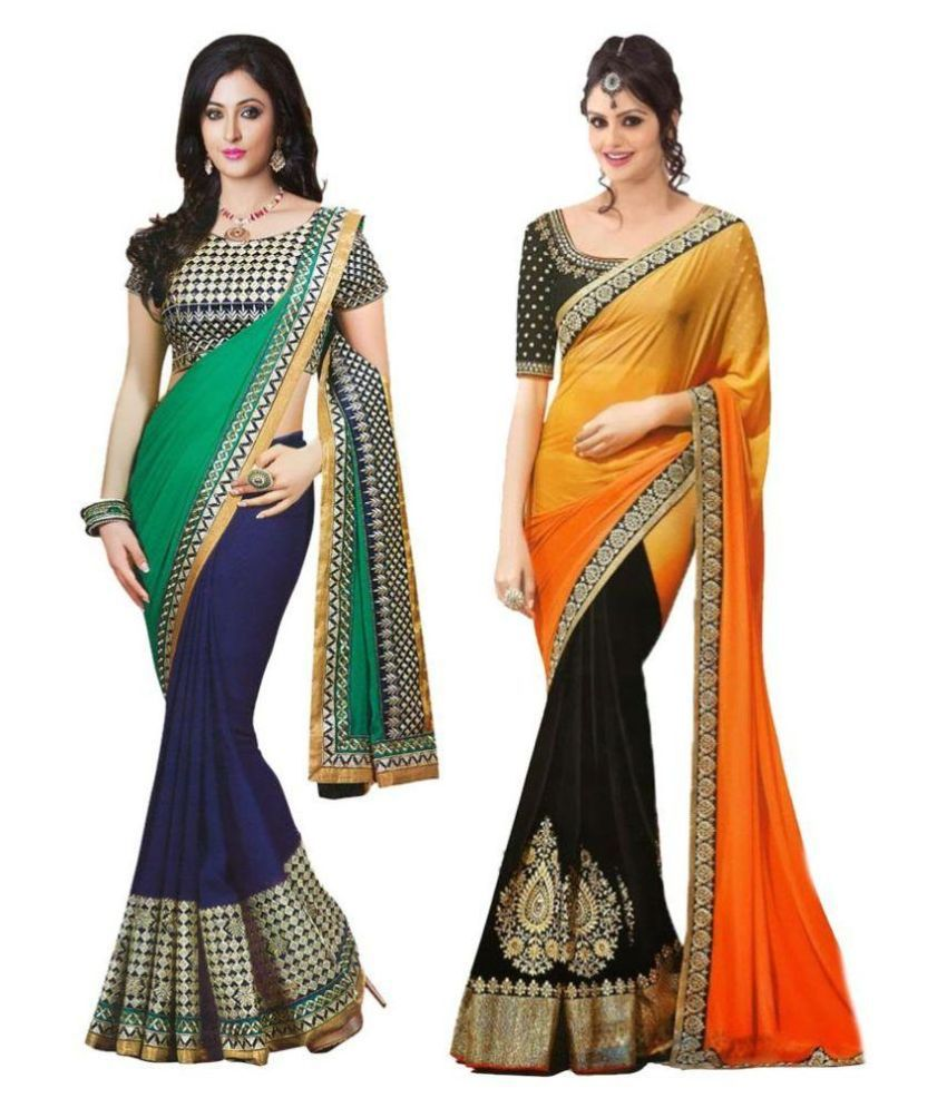 Lookslady Fashion Multicoloured Georgette Saree Combos