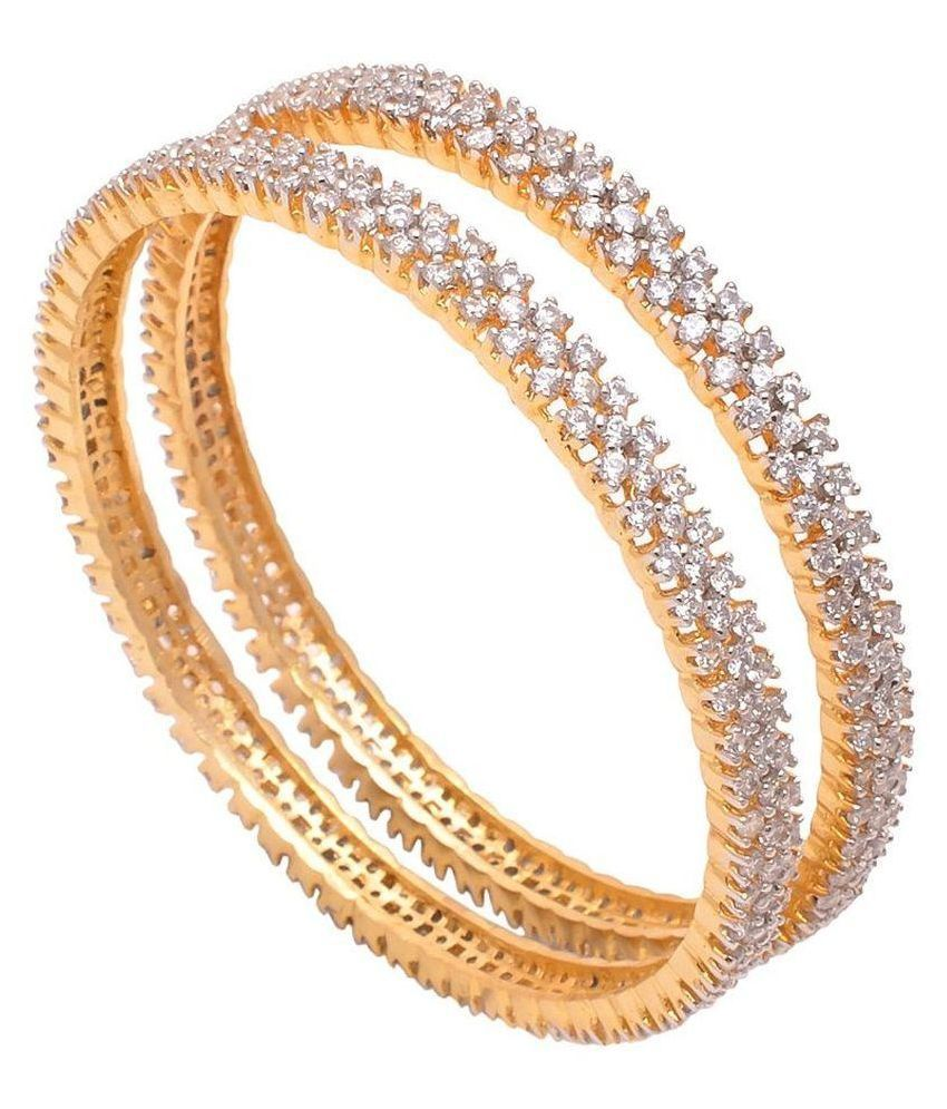 eShopitude Alloy Gold Plating American diamonds Studded Gold Coloured Pair Of Bangles