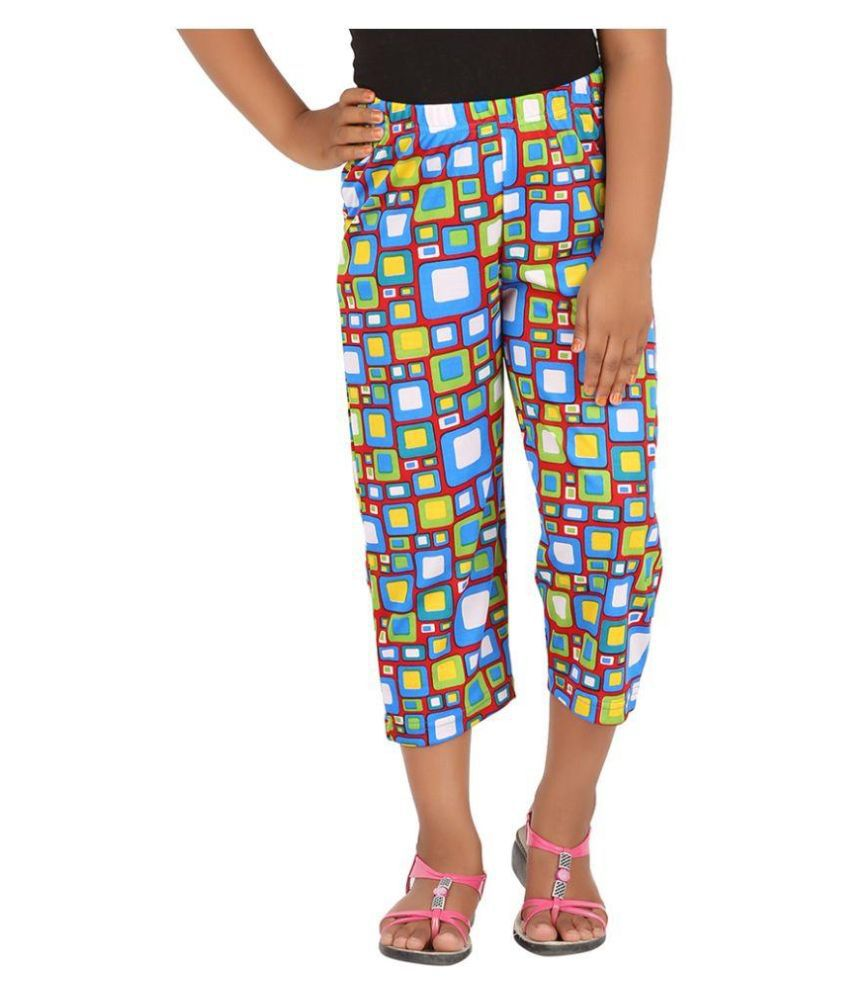Blue Girls Multicolor Cotton Capri