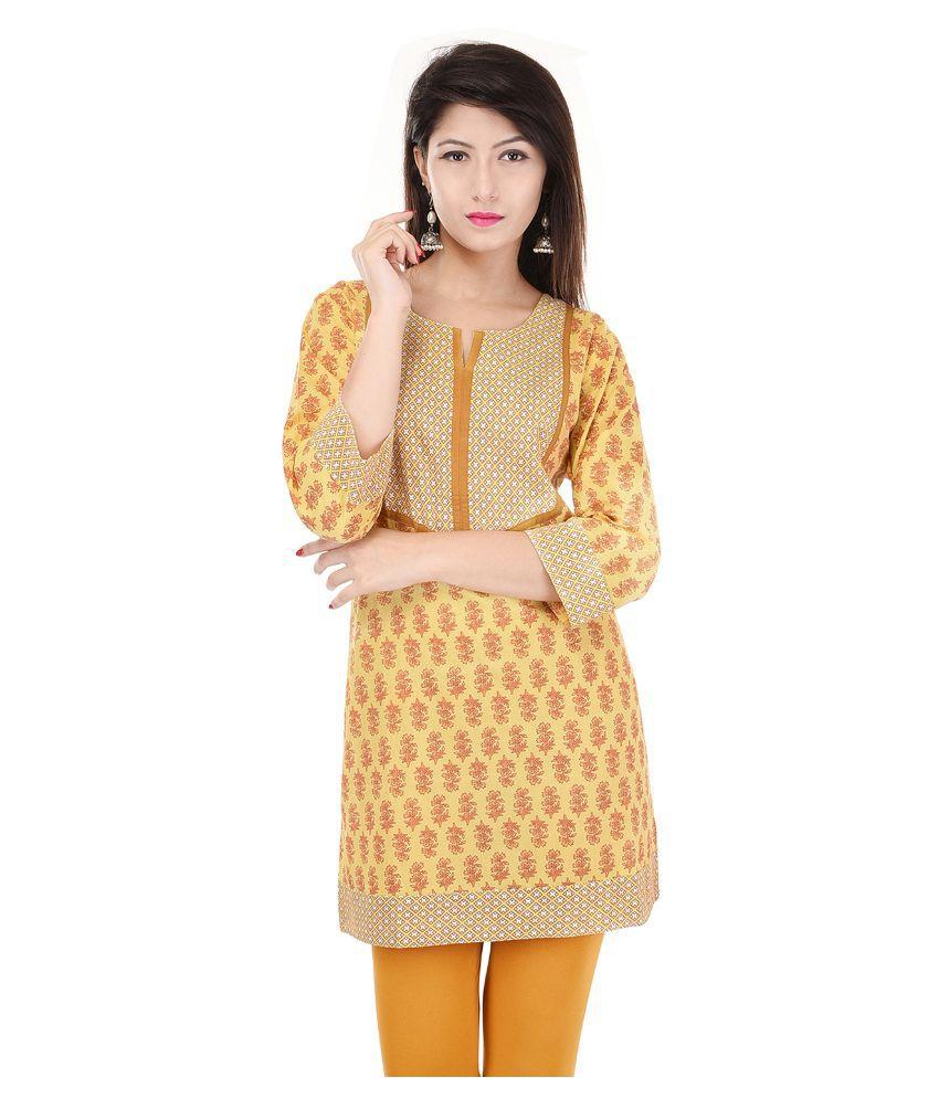 Ellegent Exports Yellow Cotton Straight Kurti