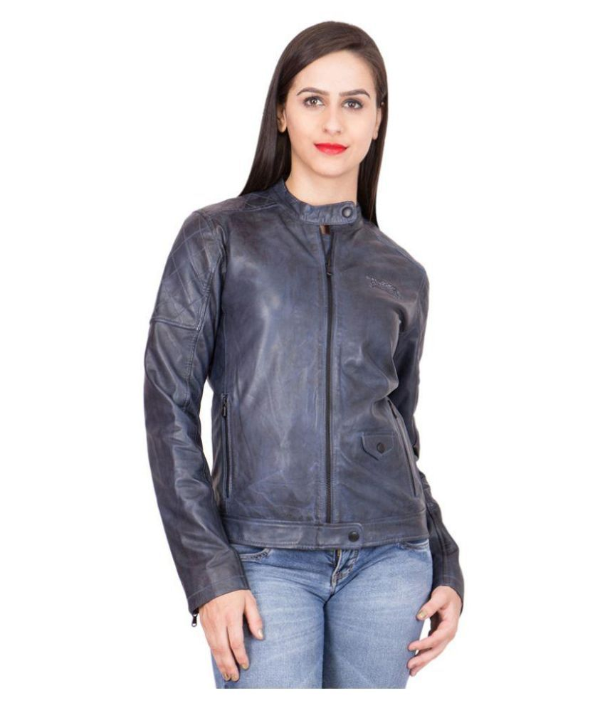 Justanned Black Faux Leather Jacket For Girls