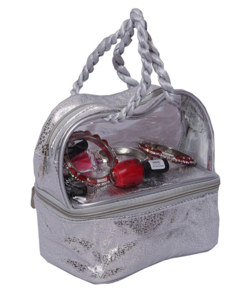 Kuber Industries Fabric Studded Silver Coloured Jewellery Box