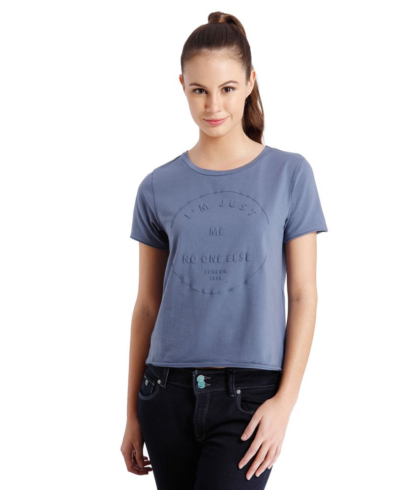 4cb9c0f8692 ONLY Navy Blue Printed T Shirt available at SnapDeal for Rs.347