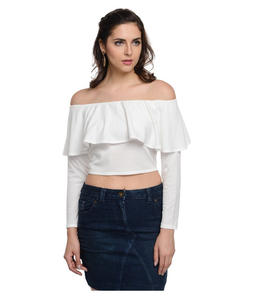 At499 White Polyester Crop Top