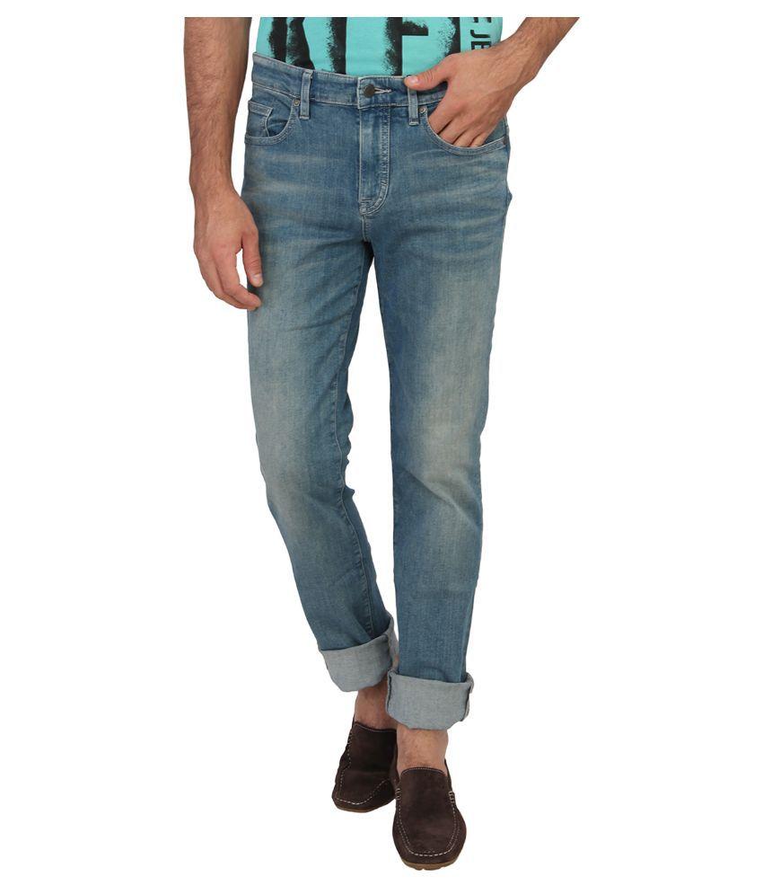 Calvin Klein Blue Slim Fit Solid Jeans