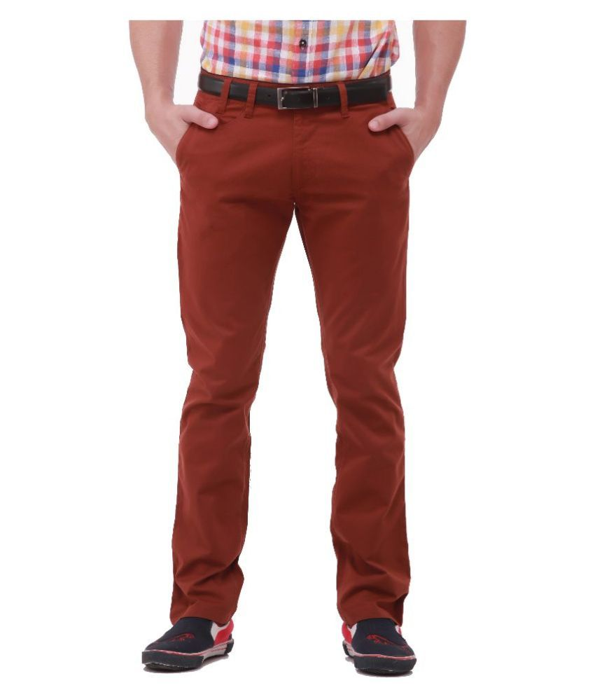 Jogur Red Regular Fit Chinos