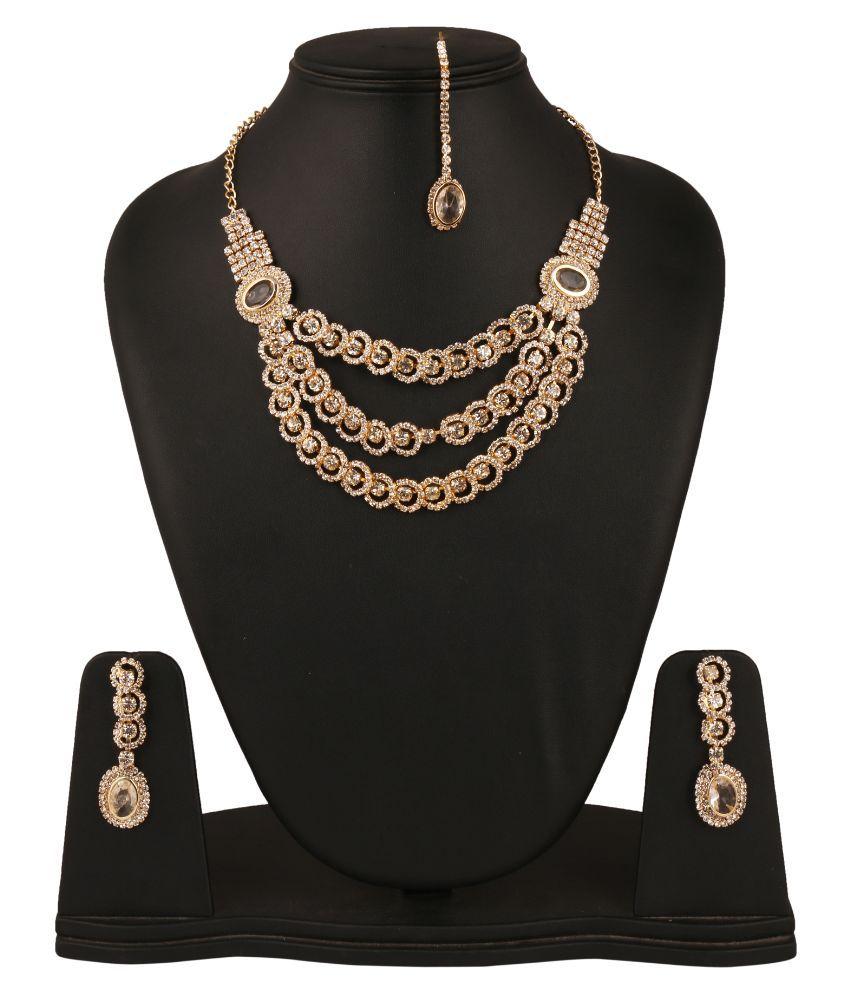 Fanvi Alloy Studded Gold Coloured Necklaces Set