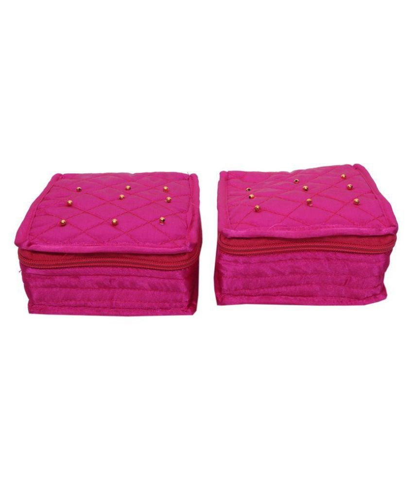 Hanu Enterprises Fabric Studded Pink Coloured Jewellery Box