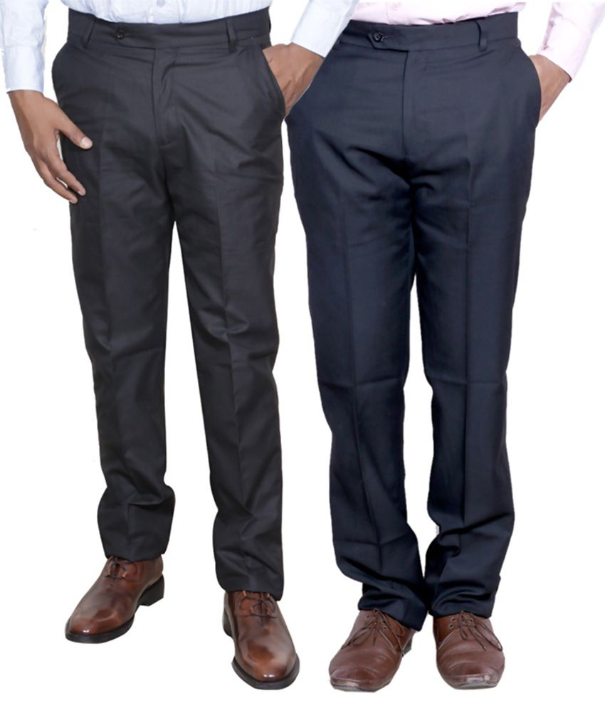 IndiWeaves Black Regular Fit Flat Trousers Pack of 2