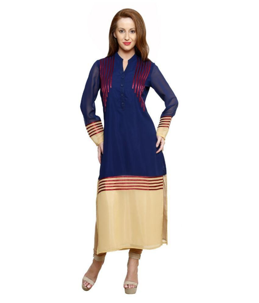 Ziera Navy Georgette Straight Kurti