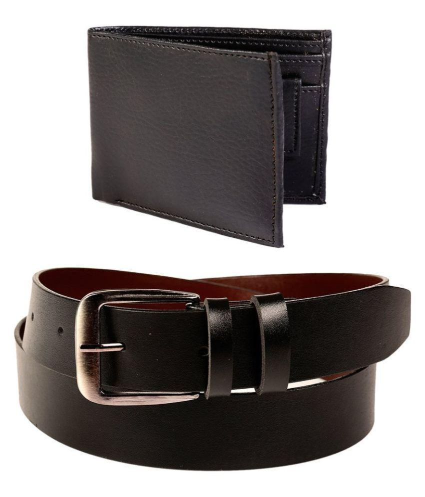 Daller Black Casual Belt for Men with Wallet