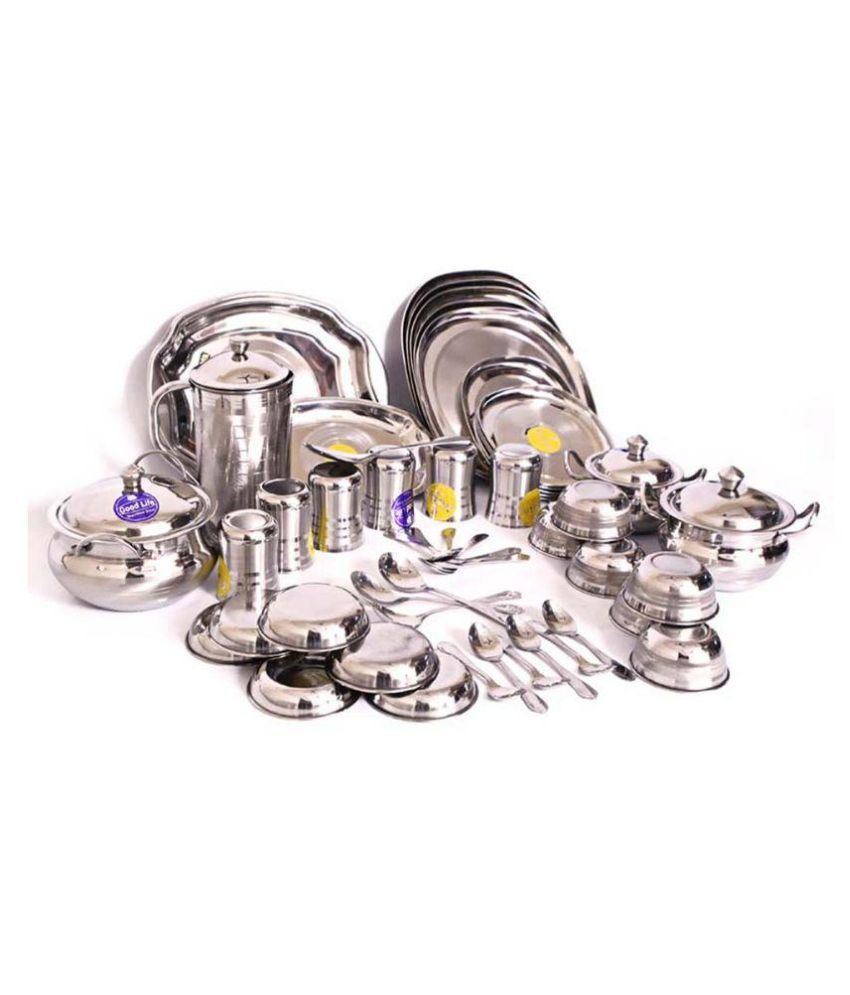 Ethnic Creations Silver Stainless Steel Dinner Set 51 Pcs
