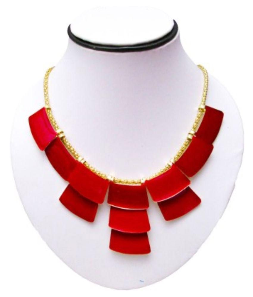 Fedexo Alloy Studded Red Coloured Necklace