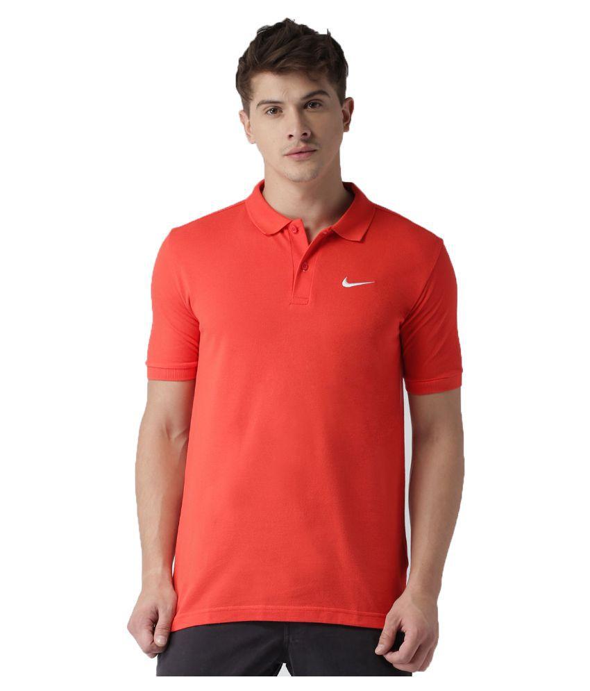 Nike Orange Cotton Polo T-Shirt
