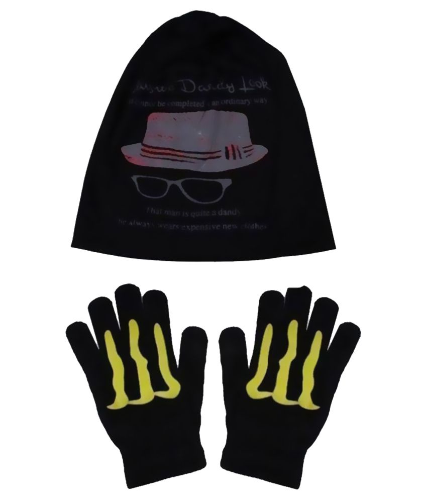 Sushito Combo Of Black Polyester Skull Cap With Hand Gloves