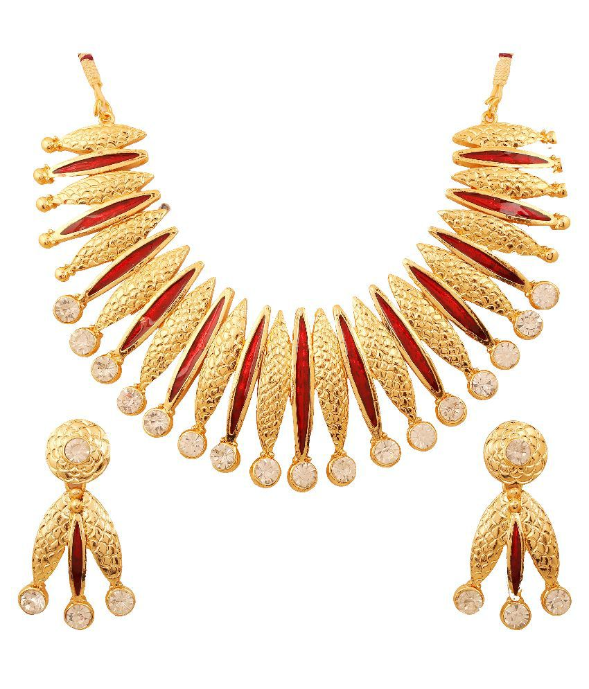 Touchstone Alloy Gold Plating Studded Red Coloured Necklaces Set