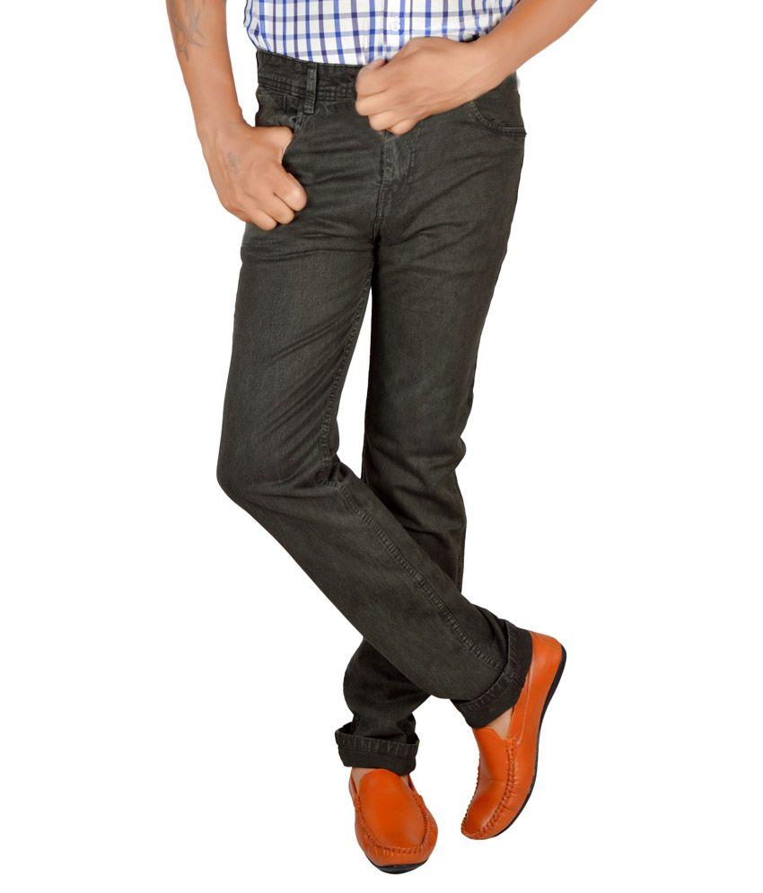 Allen Martin Black Regular Fit Solid Jeans