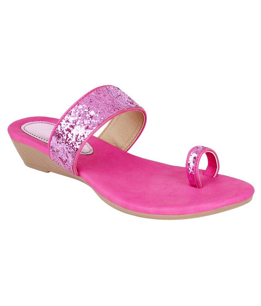 Glitzy Galz Pink Wedges Heels