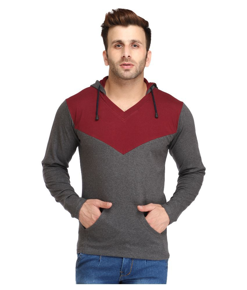 Black t shirt snapdeal - Leana Grey Hooded T Shirt