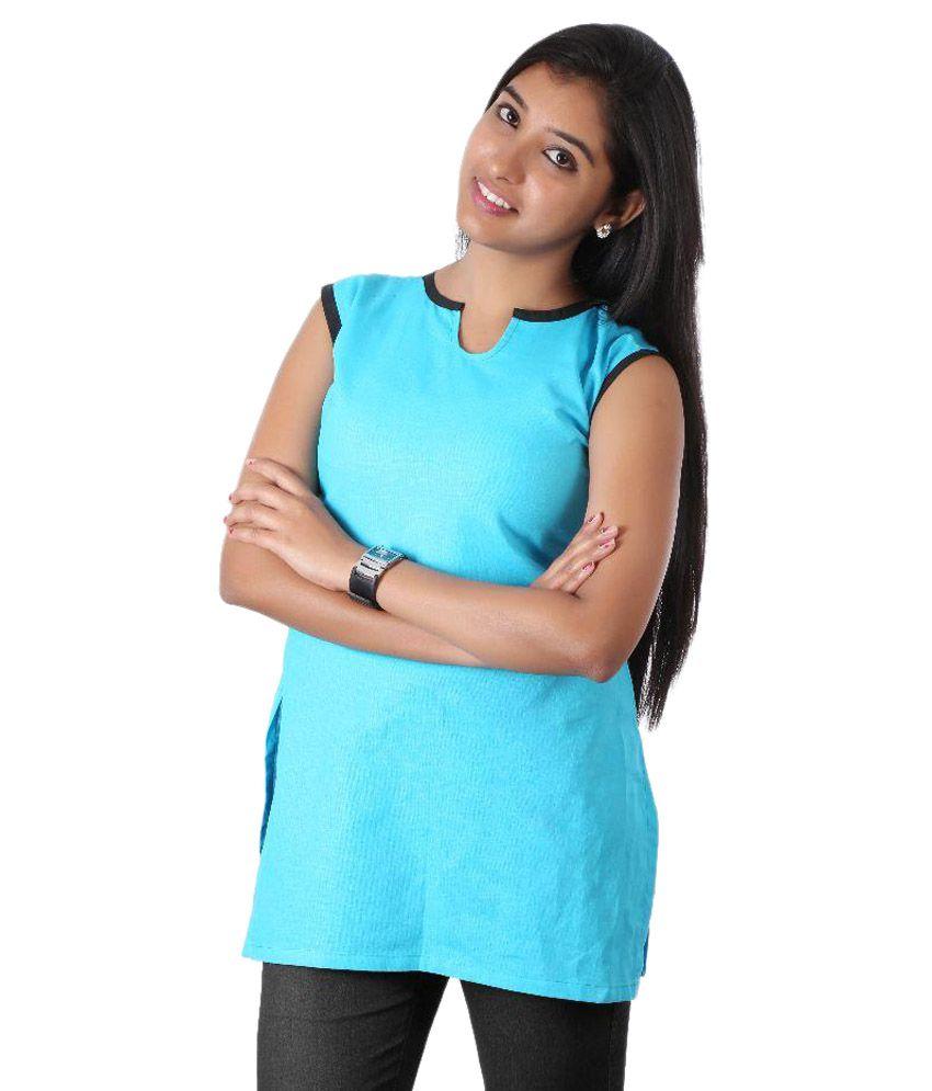 Shivanisha Blue Cotton Straight Kurti