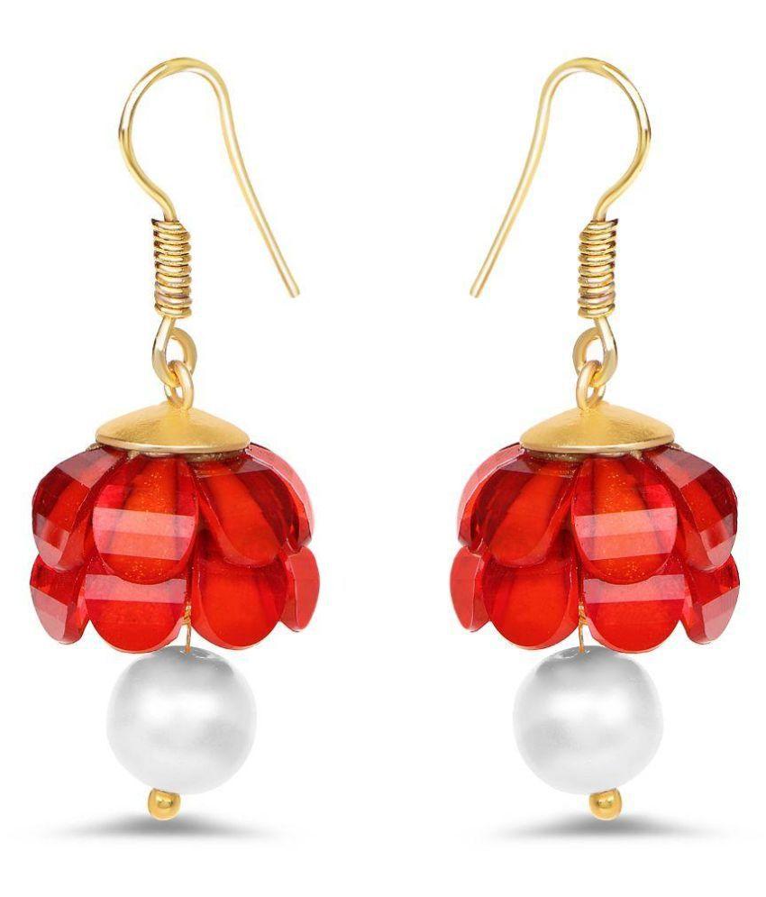 Johareez Brass Gold Plating Studded Red Coloured Earrings